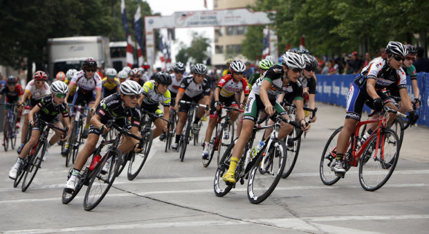Junior boys at the 2014 USA Cycling National Championship Criterium in Madison, WI