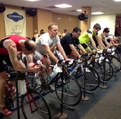 An indoor cycling class at Cadence Cycling and Multisport in Manayunk, Philadelphia, PA