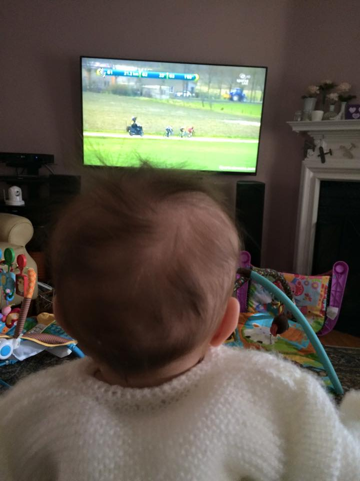"Watching the bike race with my daughter. After the race, she told me ""Man, even I know that Etixx screwed that one up, and I'm only 3 months old!"""