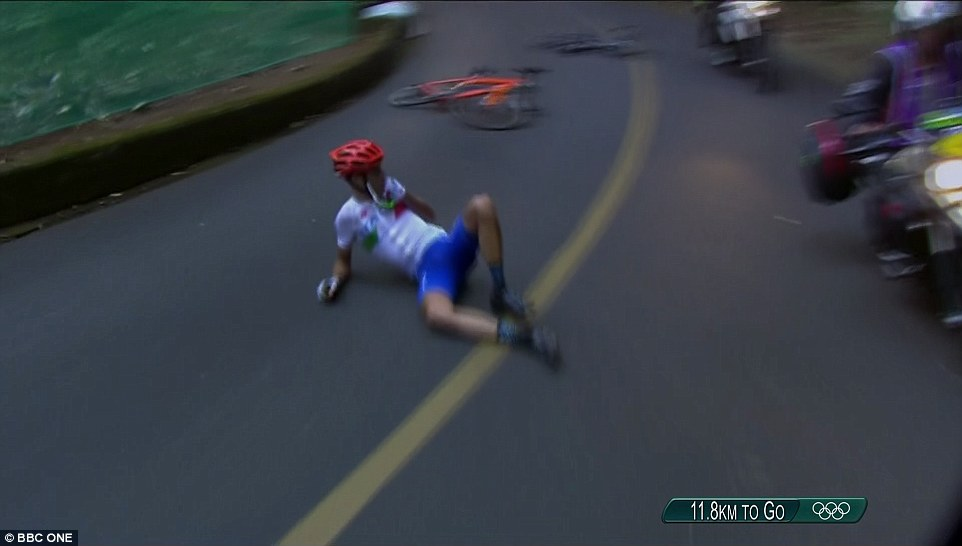 Just when it was starting to look like Vincenzo Nibali had the Olympic road race locked up, he crashed on the descent.