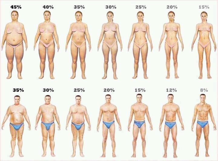 Naturally women tend to have a higher body fat % than men, but there is no formula to determine what is ideal or optimal for a given individual's performance or health. Nonetheless, body fat % is a much more meaningful measurement than Body Mass Index (BMI), which only takes height and weight into account.