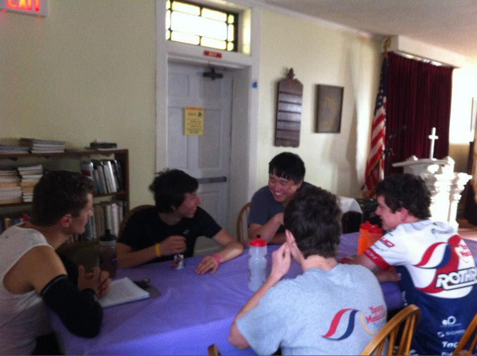 Zach helping us all laugh at the breakfast table prior to the 2012 Tour of Battenkill