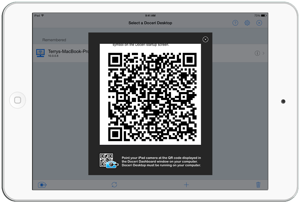 iPad seeing QR code through camera, establishes connection to the computer