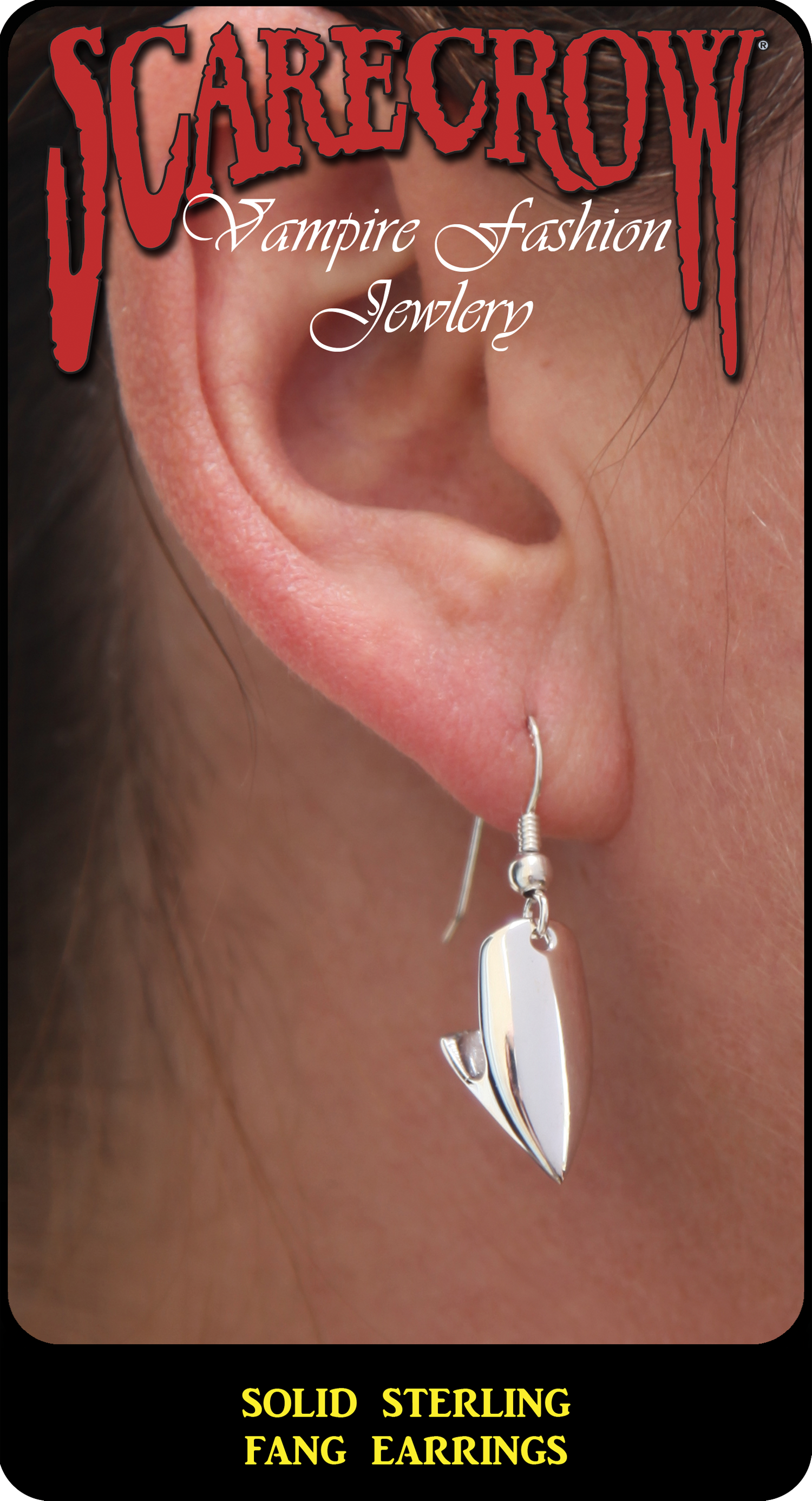 Solid Sterling Fang Earrings (BVESS10)