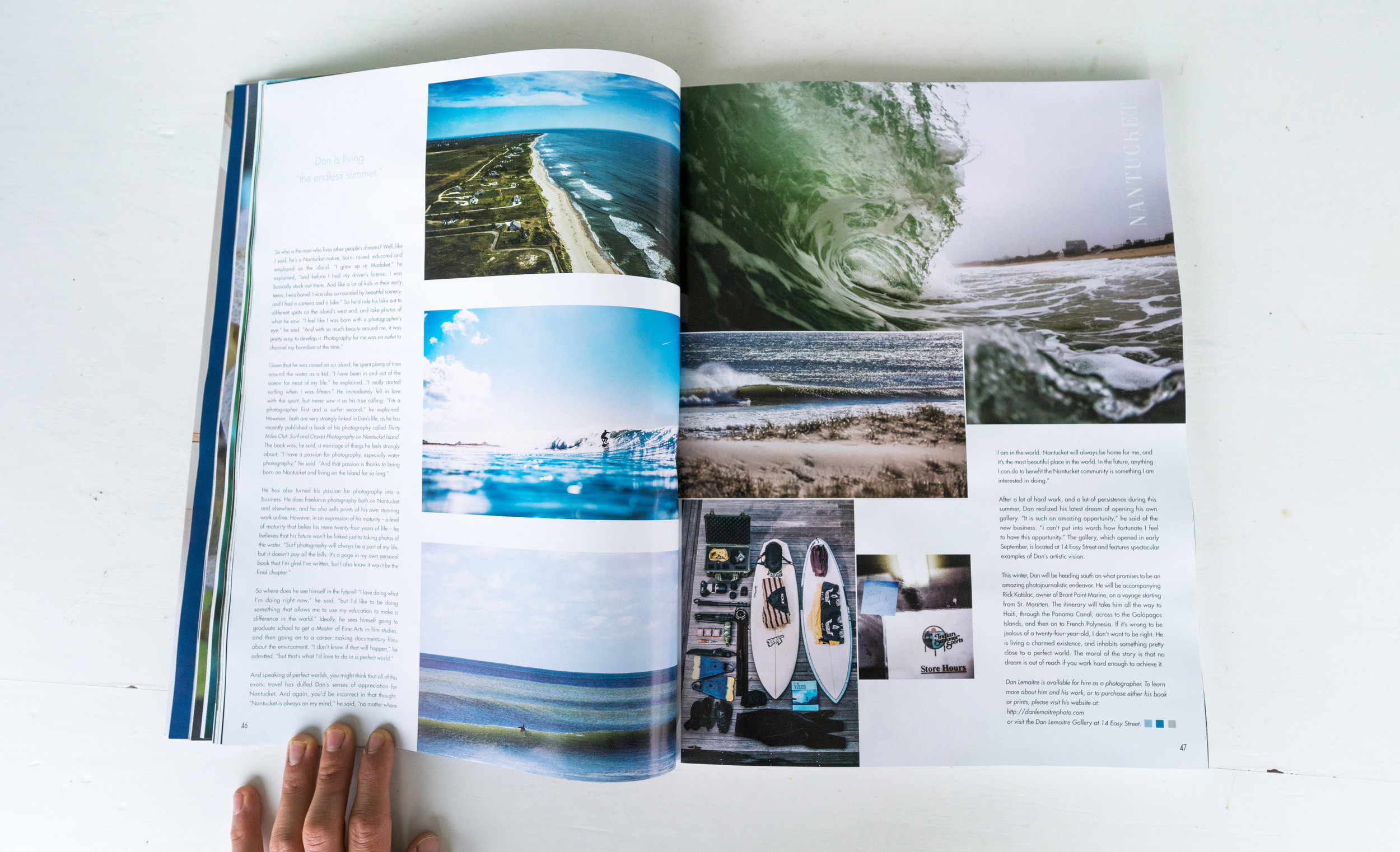 """""""Surfing the World"""", 12-page feature in Only Nantucket, Winter 2017"""