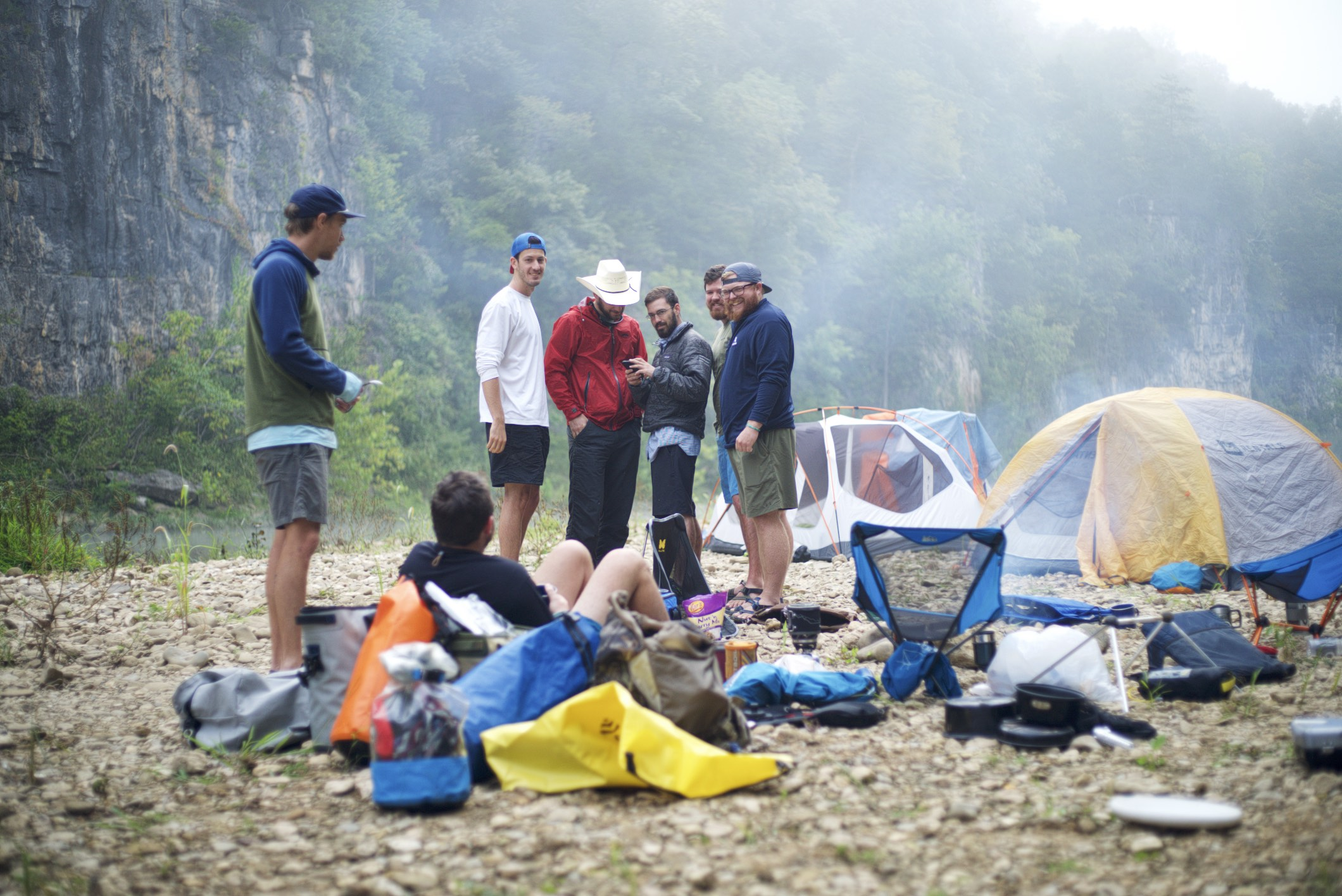 I'm sure that at this moment, Mark has just shouted some hilarious insult at the group as they map out the next day's paddle.