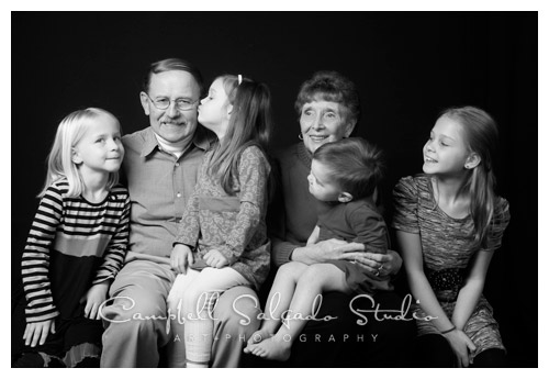 grandparents in a family photography photo studio session at Campbell Salgado Studio