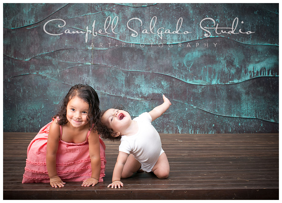 Portrait of children on copper background by Portland photographers Campbell and Salgado.