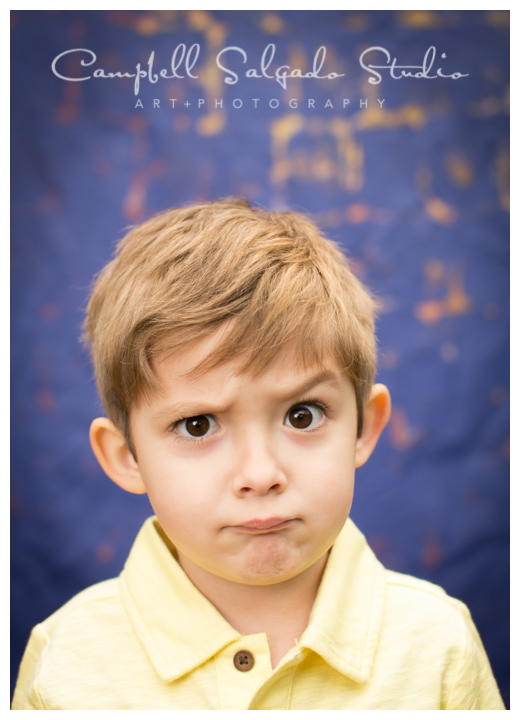 "Portrait of little boy on ""Frida"" background at Campbell Salgado Studio."