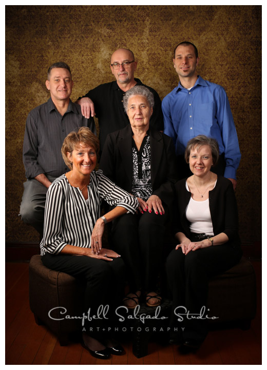 Portrait of adult siblings and mother on vintage amber background at Campbell Salgado Studio