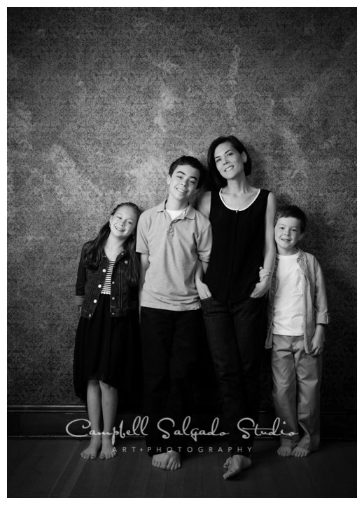 Portrait of family on vintage amber background at Campbell Salgado Studio in Portland, Oregon.