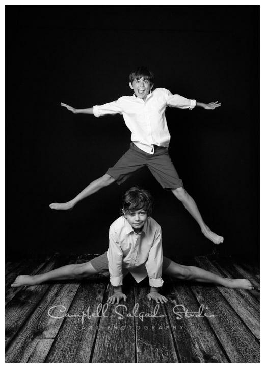 Portrait of boys on black background at Campbell Salgado Studio.