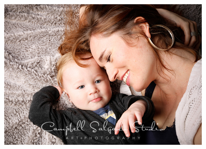 Baby photographers at Campbell Salgado Studio in Portland, Oregon capture a mom and her baby boy.
