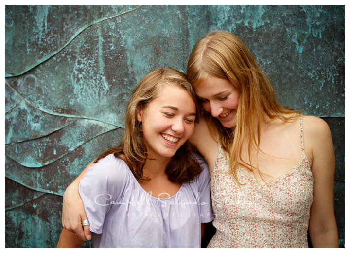 Portrait of sisters on copper background at Campbell Salgado Studio.