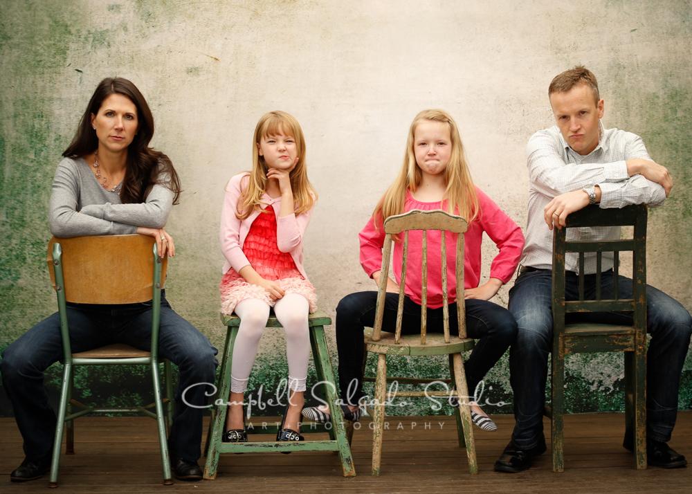 Portrait of family on abandoned concrete backgroundby family photographers at Campbell Salgado Studio, Portland, Oregon.