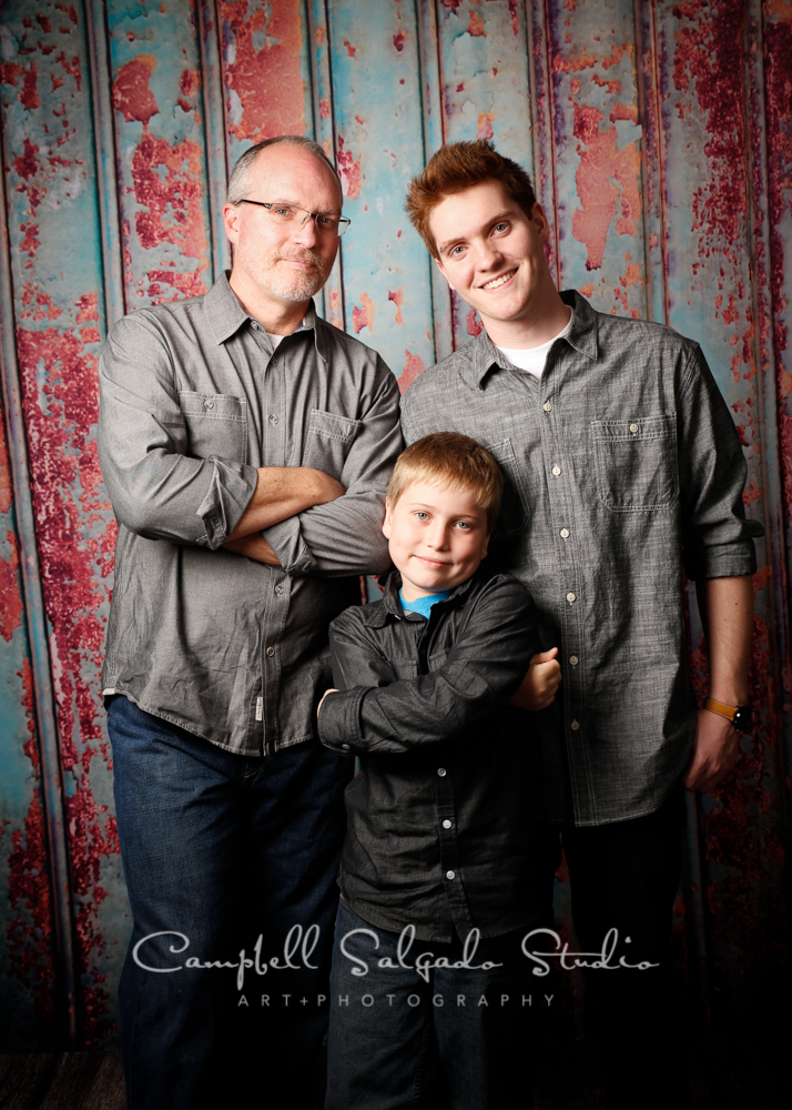 Portrait of father and sons on Italian rust background by family photographers at Campbell Salgado Studio, Portland, Oregon.