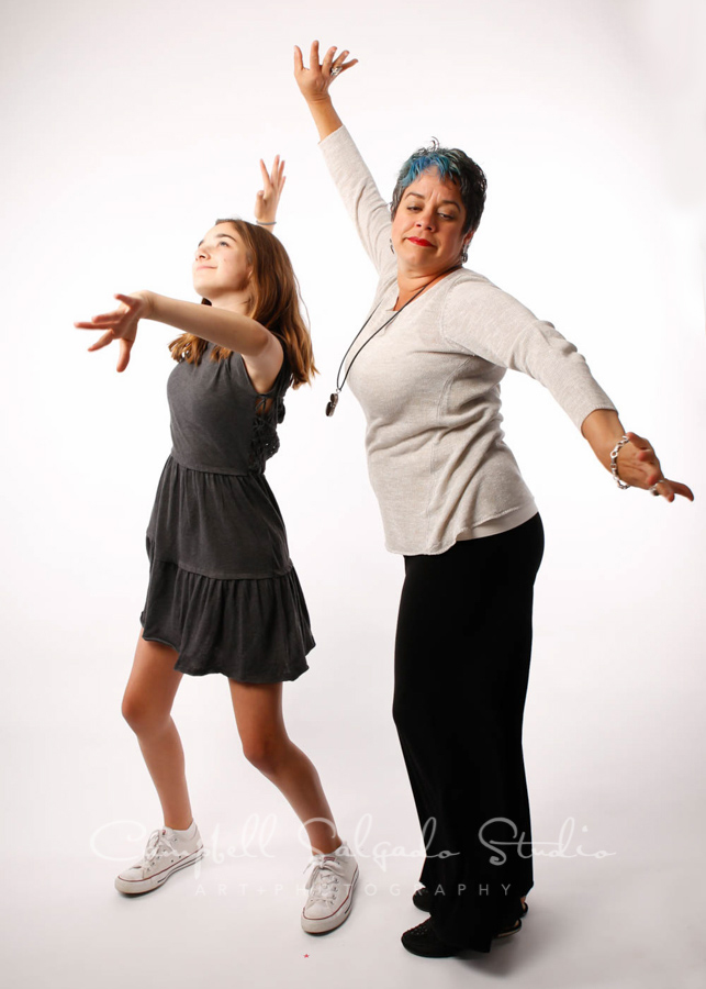 Portrait of mother and daughter on white background by family photographers at Campbell Salgado Studio in Portland, Oregon.