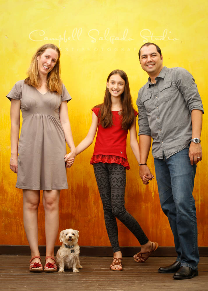 Portrait of family on liquid sunshine background by family photographers at Campbell Salgado Studio in Portland, Oregon.
