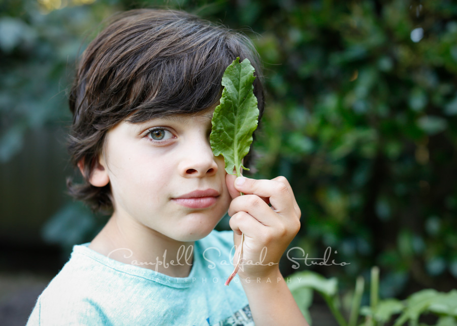 Portrait of boy at family vignettes session by family photographers at Campbell Salgado Studio in Portland, Oregon.