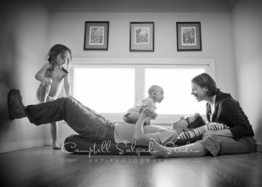 B&W portrait of family vignettes session by family photographers at Campbell Salgado Studio in Portland, Oregon.