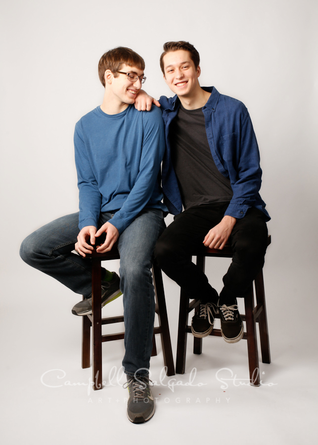 Portrait of boys on white background by family photographers at Campbell Salgado Studio in Portland, Oregon.