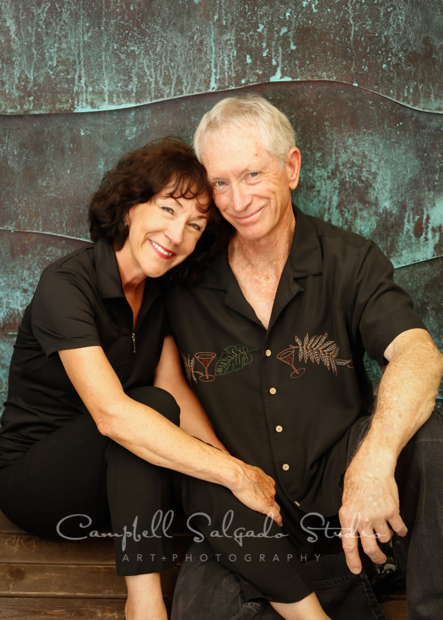 Portrait of couple on ocean weave background by couples photographers at Campbell Salgado Studio in Portland, Oregon.