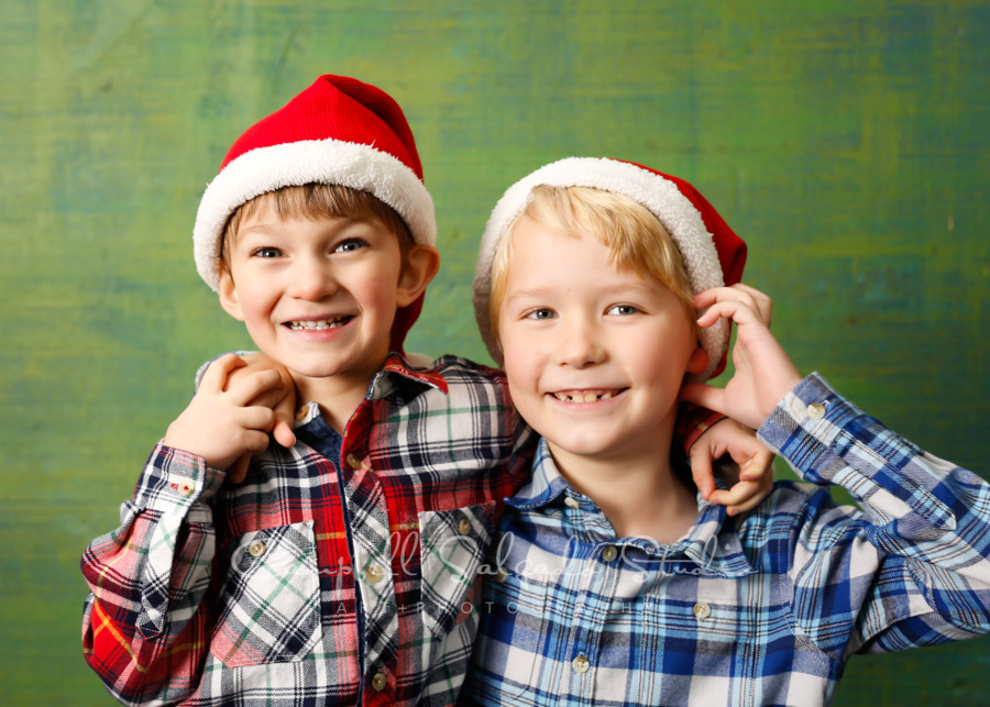 Holiday portrait of boys on blue green weave background by children's photographer at Campbell Salgado Studio in Portland, Oregon.