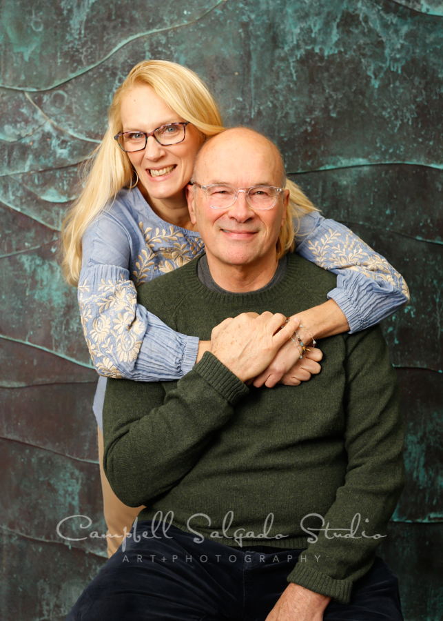 Portrait of couple on ocean weave background by family photographers at Campbell Salgado Studio in Portland, Oregon.