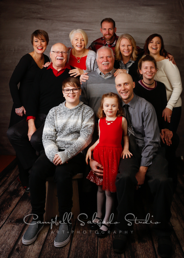 Portrait of multi generational on graphite background by family photographers at Campbell Salgado Studio in Portland, Oregon.