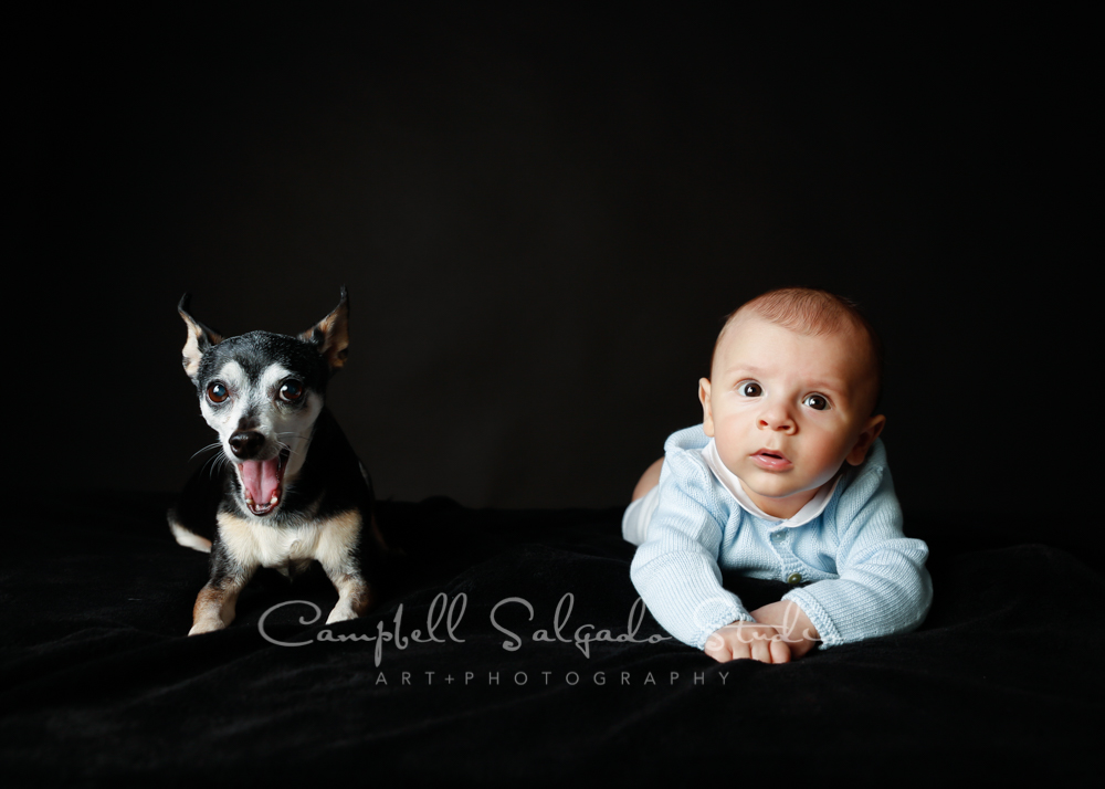 Portrait of baby and dog on black background by newborn photographers at Campbell Salgado Studio in Portland, Oregon.