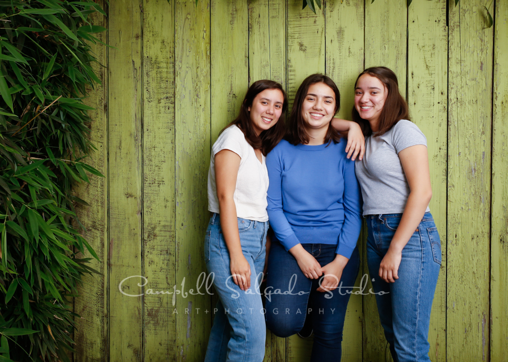 Portrait of sisters on lime fenceboards background by family photographers at Campbell Salgado Studio in Portland, Oregon.