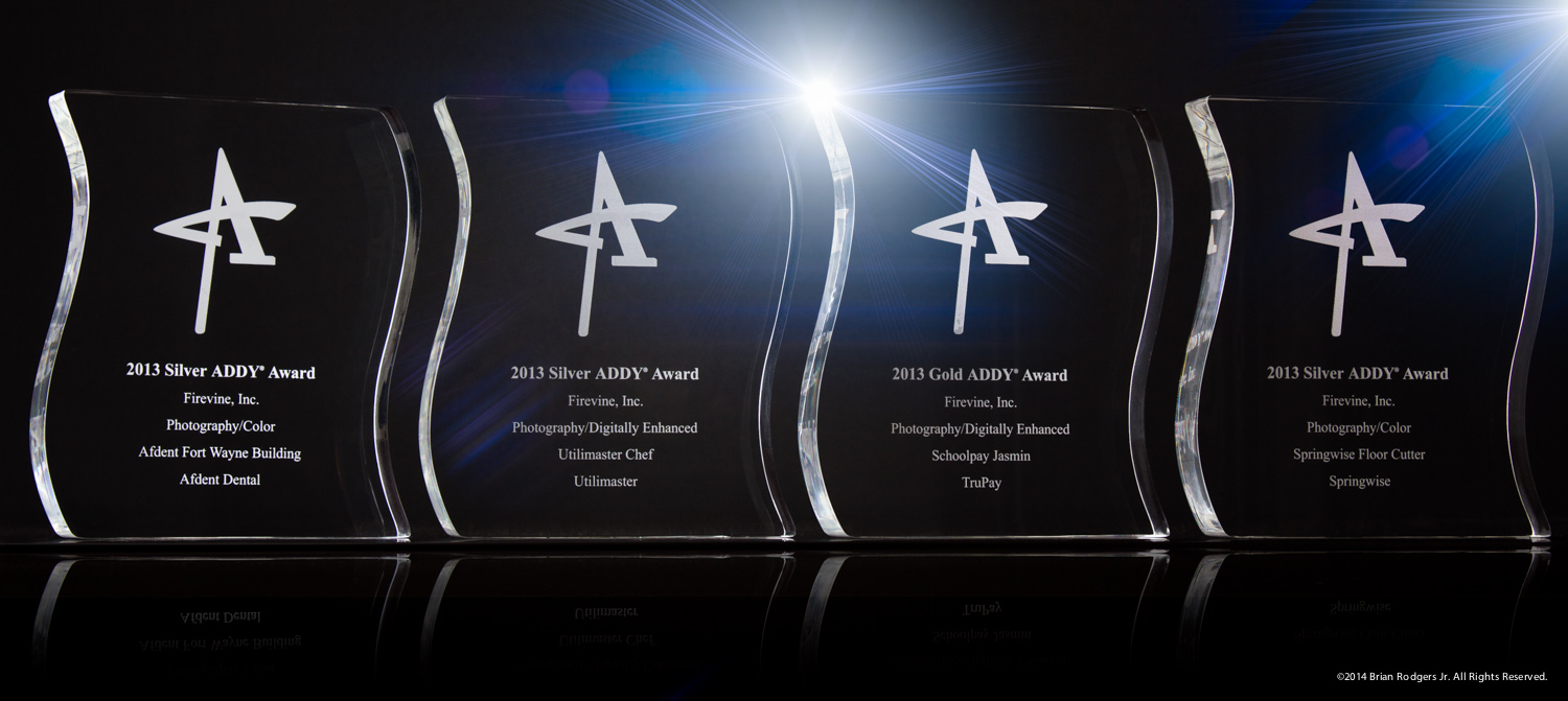 The picture above is shot that I took of the awards that I won for my team at Firevine for Commercial Photography
