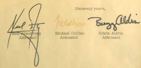 Apollo 11 secretarial signatures on NASA letterhead, February 1970