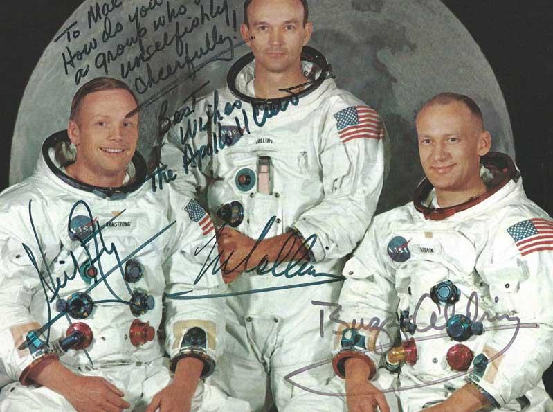 Apollo 11 secretarial signatures with secretarial dedication.