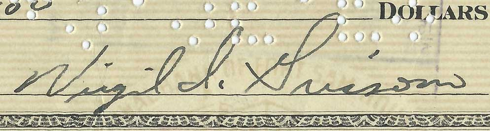 Virgil Grissom signed check, 1958