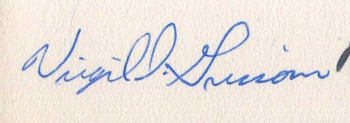 Virgil Grissom signed photo, circa 1959 - Grissom Estate