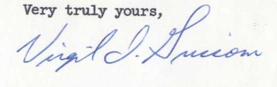 Virgil Grissom signed letter, 1961