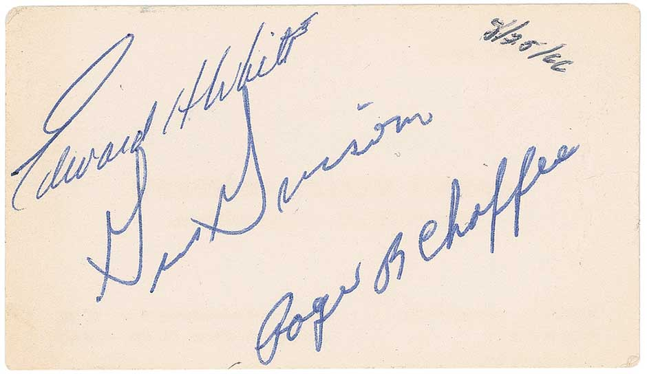 Business card signed by Apollo 1 crew, 1966. From the estate of Don Chaffee (Roger Chaffee's father).