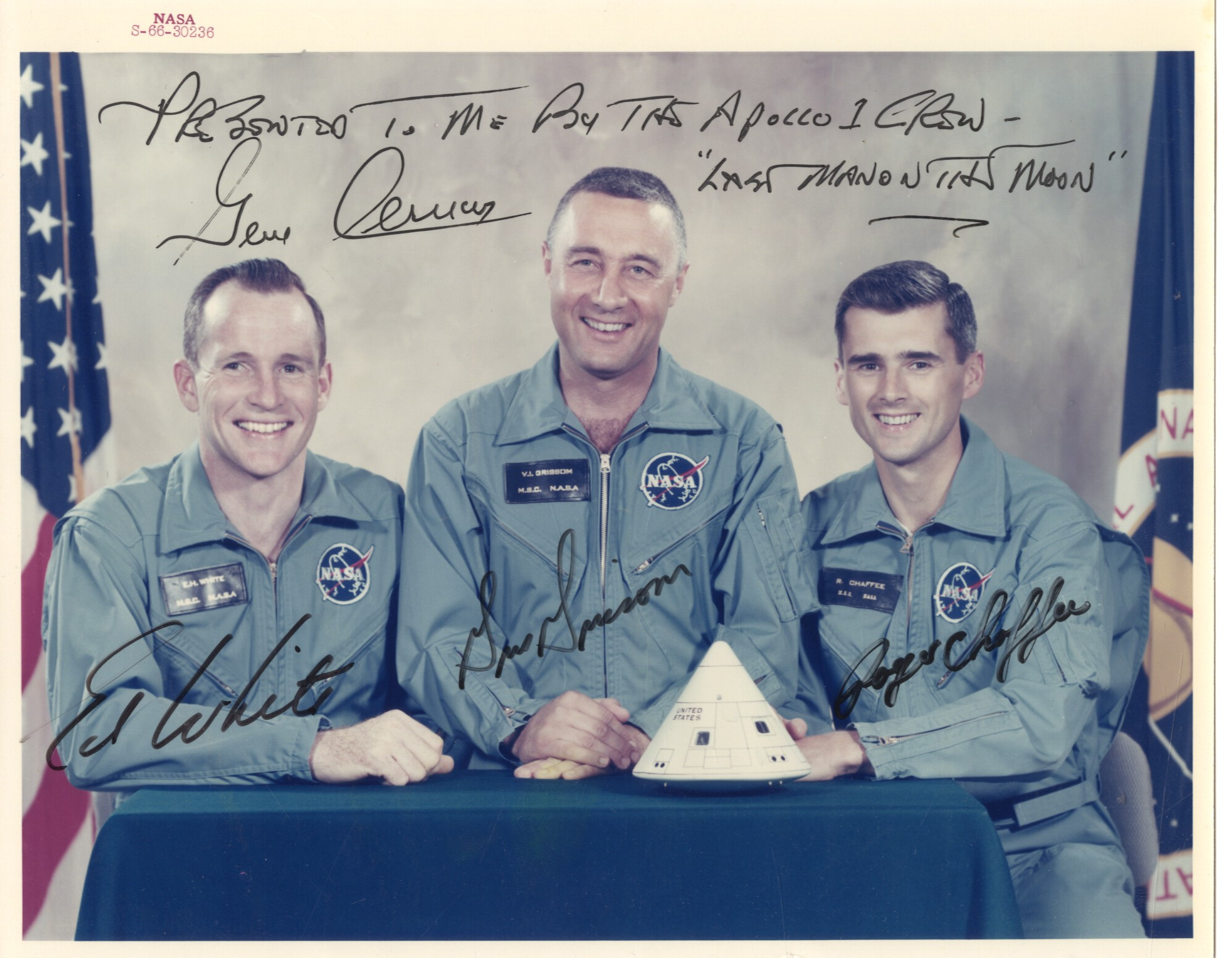 Apollo 1 photo from the Gene Cernan collection, 1966 (Cernan is a much later signature)