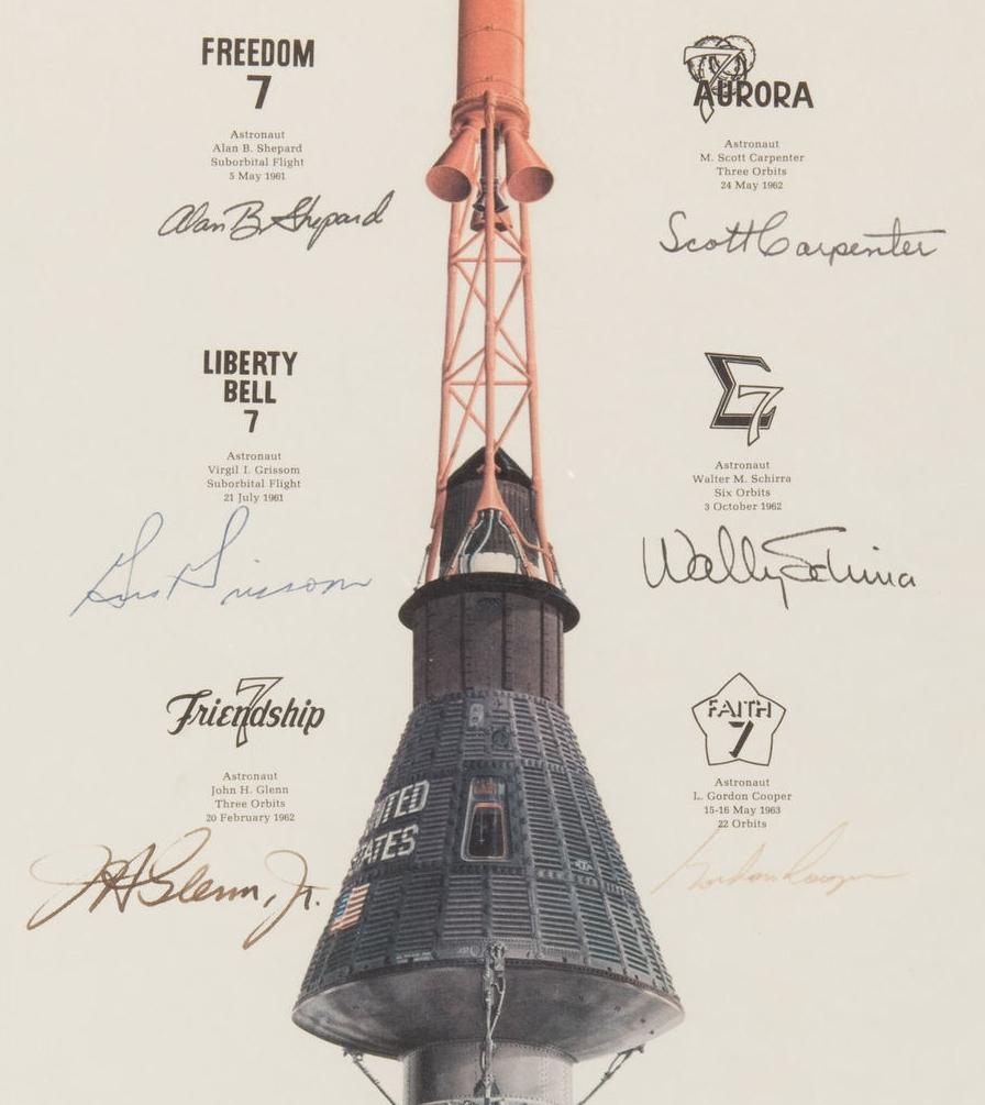 Mercury 7 Lithograph, Grissom signature circa 1964