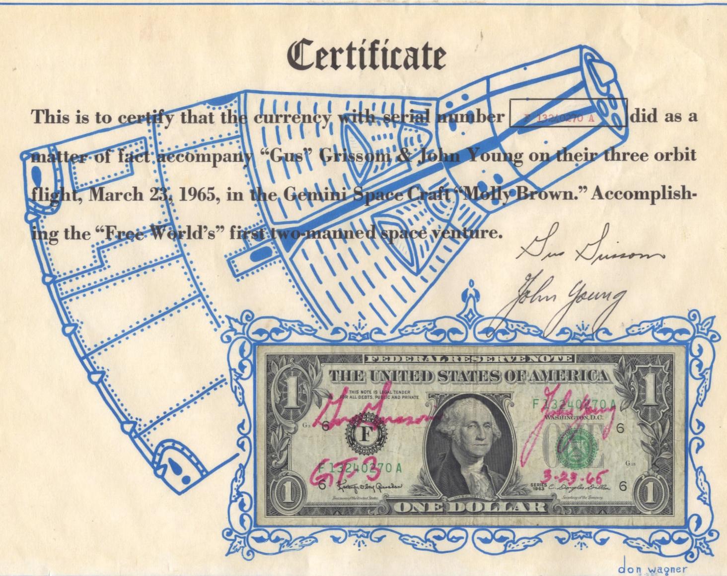 Gemini 3 flown currency presentation, 1965