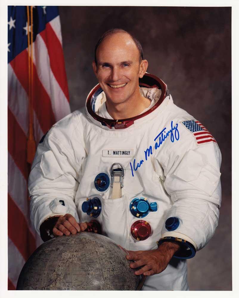 Ken Mattingly signed white space suit portrait