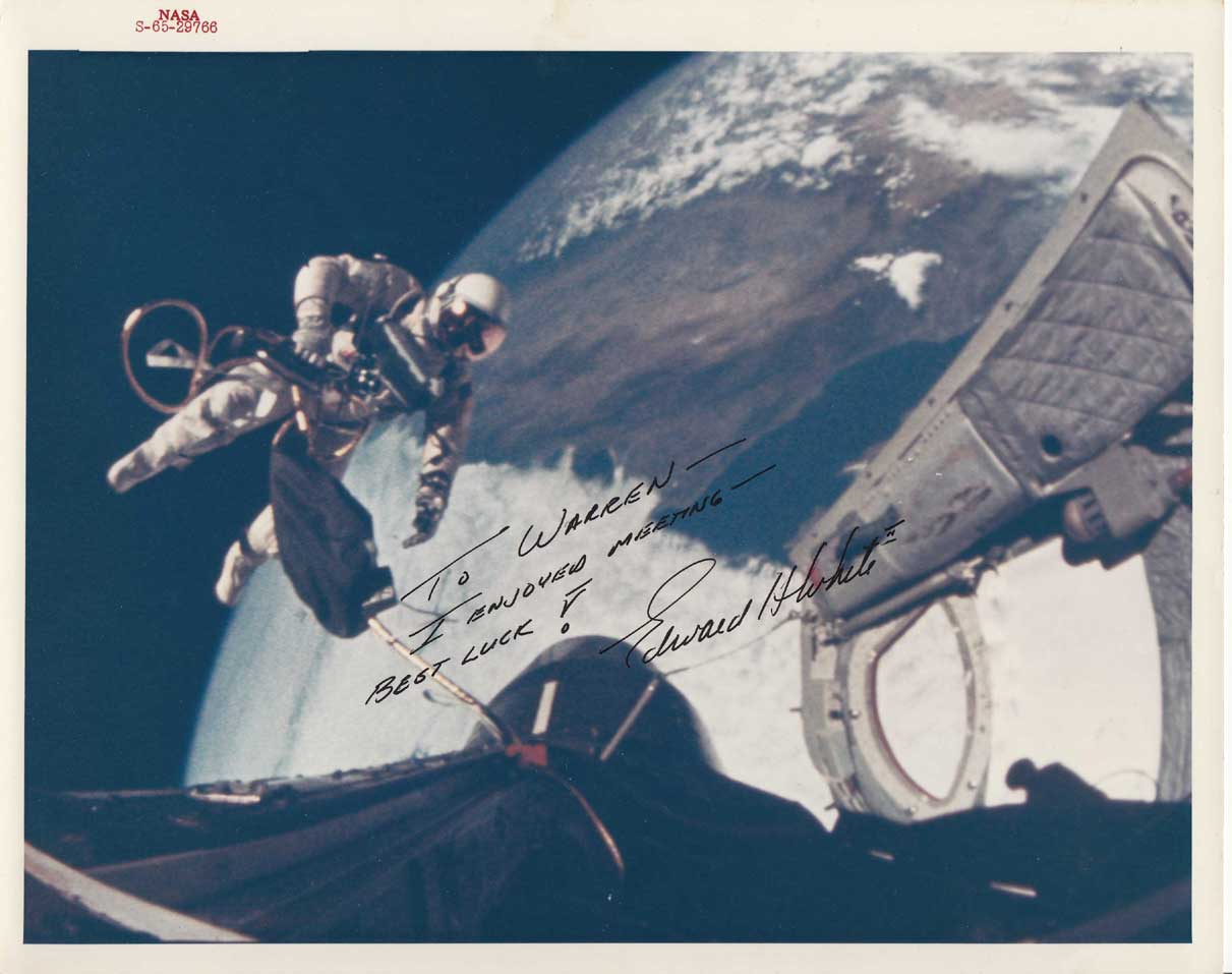 ed white signed photo to warren spahn