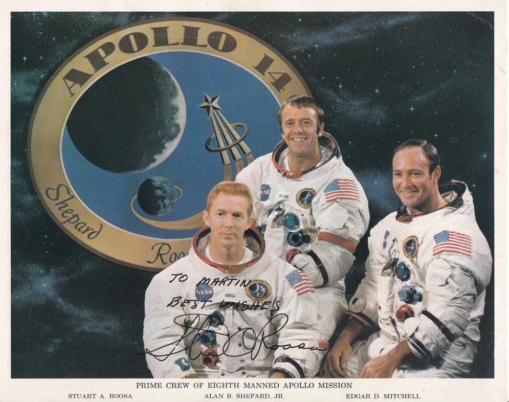 Stuart Roosa signed Apollo 14 Crew Portrait