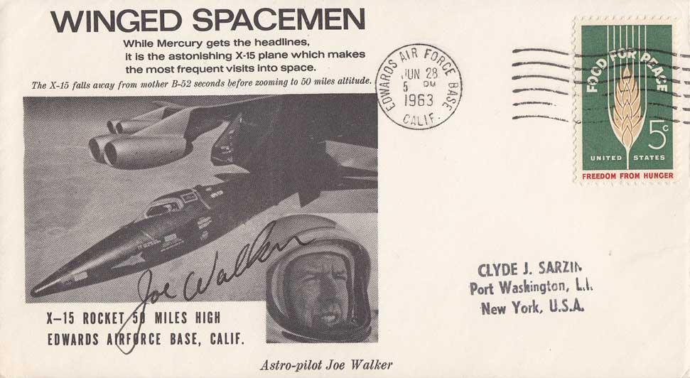 Joe walker signed X-15 Sarzin postal cover
