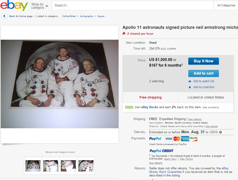 Common Apollo 11 reproduction signed photo being advertised as authentic on eBay