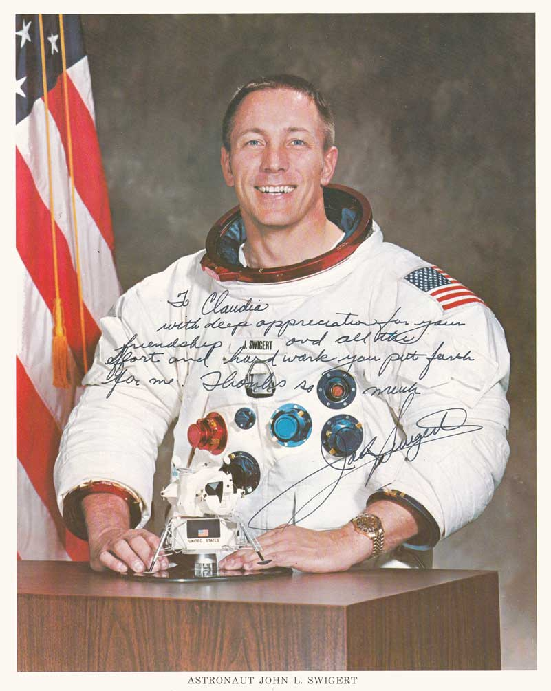 Jack Swigert signed photo to Claudia Thames of the John M. King company.