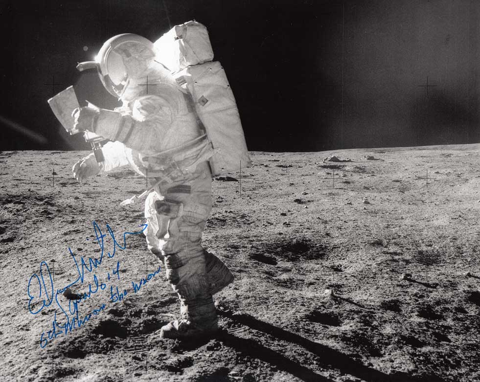 Edgar Mitchell, Apollo 14, searching for Cone Crater on the moon.