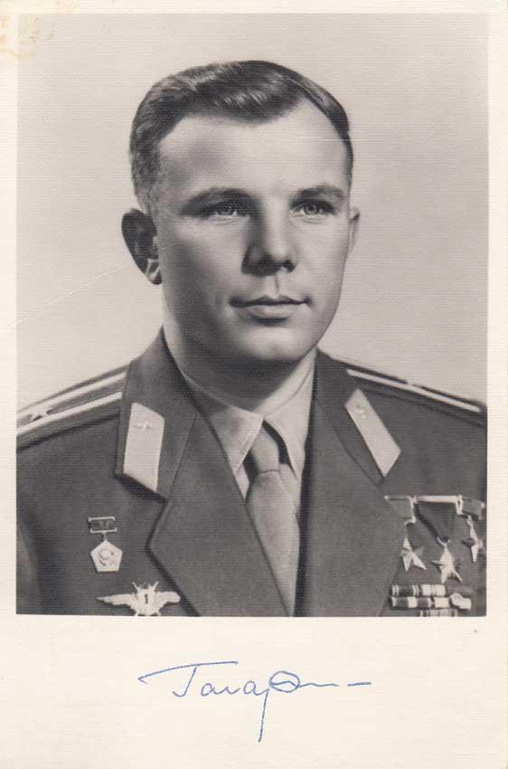 Gagarin signed photo postcard