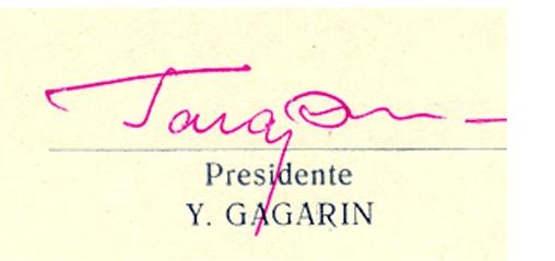 Yuri Gagarin signed Cuban Friendship Society CARD